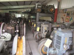 Visione panoramica di trattori Landini. Si calcola che furono circa 23mila i testa calda prodotti da Landini in 32 anni di attività.
